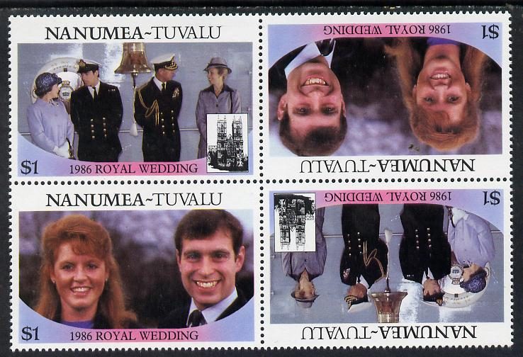 Tuvalu - Nanumea 1986 Royal Wedding (Andrew & Fergie) $1 in unissued perf tete-beche block of 4 (2 se-tenant pairs) unmounted mint from uncut proof sheet