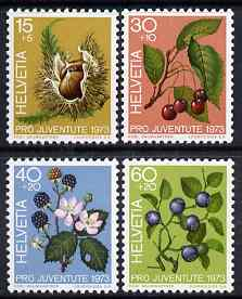 Switzerland 1973 Pro Juventute Fruits of the Forest set of 4 unmounted mint SG J241-44