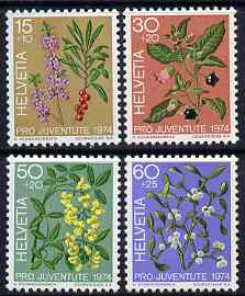 Switzerland 1974 Pro Juventute Fruits of the Forest set of 4 unmounted mint SG J245-48