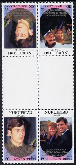 Tuvalu - Nukufetau 1986 Royal Wedding (Andrew & Fergie) 60c with 'Congratulations' opt in silver in unissued perf tete-beche inter-paneau block of 4 (2 se-tenant pairs) unmounted mint from Printer's uncut proof sheet