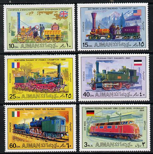 Ajman 1971 Locomotives perf set of 6 unmounted mint, Mi 1197-1201