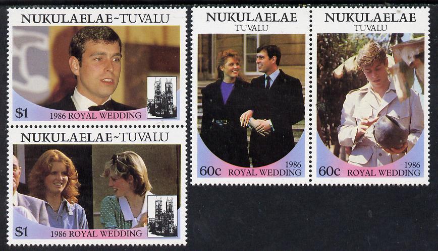 Tuvalu - Nukulaelae 1986 Royal Wedding (Andrew & Fergie) set of 4 (2 se-tenant pairs) unmounted mint