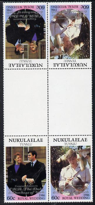 Tuvalu - Nukulaelae 1986 Royal Wedding (Andrew & Fergie) 60c with 'Congratulations' opt in silver in unissued perf tete-beche inter-paneau block of 4 (2 se-tenant pairs) unmounted mint from Printer's uncut proof sheet