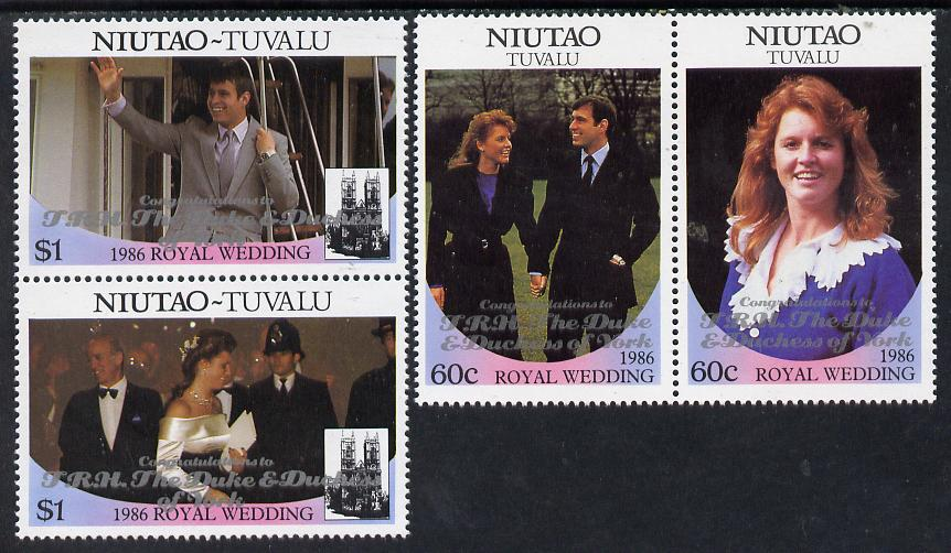 Tuvalu - Niutao 1986 Royal Wedding (Andrew & Fergie) set of 4 (2 se-tenant pairs) with 'Congratulations' opt in silver unmounted mint