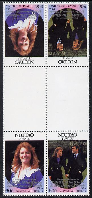 Tuvalu - Niutao 1986 Royal Wedding (Andrew & Fergie) 60c with 'Congratulations' opt in silver in unissued perf tete-beche inter-paneau block of 4 (2 se-tenant pairs) unmounted mint from Printer's uncut proof sheet