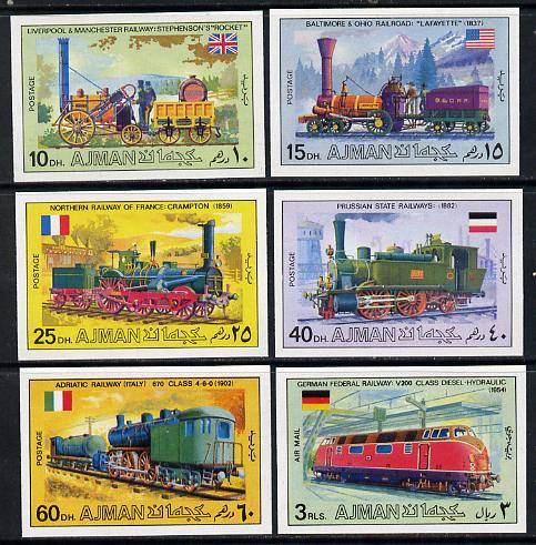 Ajman 1971 Locomotives imperf set of 6 unmounted mint, Mi 1197-1201B