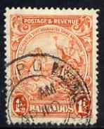 Barbados 1925-35 KG5 Badge 1.5d P14 Script used SG 231b