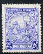 Barbados 1925-35 KG5 Badge 2.5d P13.5 x 12.5 Script used SG 233ab