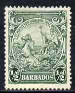 Barbados 1938-47 Badge of Colony 1/2d green P13.5 x 13 mtd mint SG 248