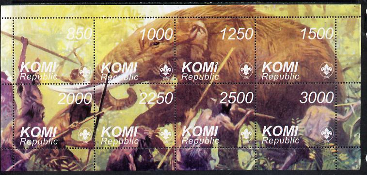Komi Republic 1998 Dinosaurs composite perf sheetlet containing complete set of 8 values (with Scout Logo) showing Mammoth being attacked by man unmounted mint