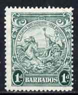 Barbados 1938-47 Badge of Colony 1d blue-green P13.5 x 13 mtd mint SG 249b