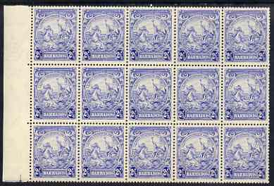 Barbados 1938-47 Badge of Colony 2.5d ultramarine block of 4 unmounted mint SG 251