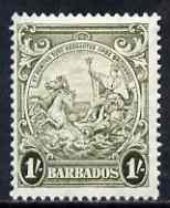 Barbados 1938-47 Badge of Colony 1s olive-green mtd mint SG 255