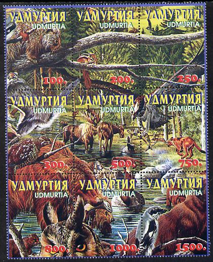 Udmurtia Republic 1998 Birds & Animals composite se-tenant block of 9 values unmounted mint
