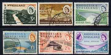 Rhodesia & Nyasaland 1960 Opening of Kariba Hydro-electric Scheme set of 6 used, SG 32-37