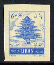 Lebanon 1953 Cedar Tree 0p50 imperf single printed on the gummed side, as SG 464*
