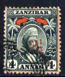 Zanzibar 1897 Surcharged 2.5a on 4a fine used, SG 177