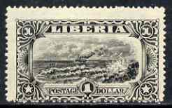 Liberia 1918 Coast View $1 perf colour trial in black with gum but centred rather low unmounted mint, as SG 359