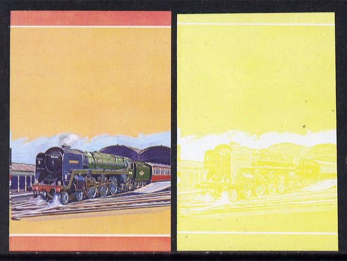 Nevis 1983 Locomotives #1 (Leaders of the World) Britannia $1 unmounted mint se-tenant imperf progressive proof pairs in magenta, yellow & blue and matching pair in yellow only (SG 144a)