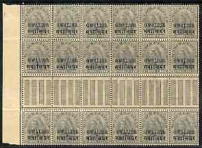 Indian States - Gwalior 1899-1911 QV 3p grey marginal gutter block of 18 (6 x 3) from left of sheet (rows 9, 10 & 11) with minor broken letters noted, overall toning but ...