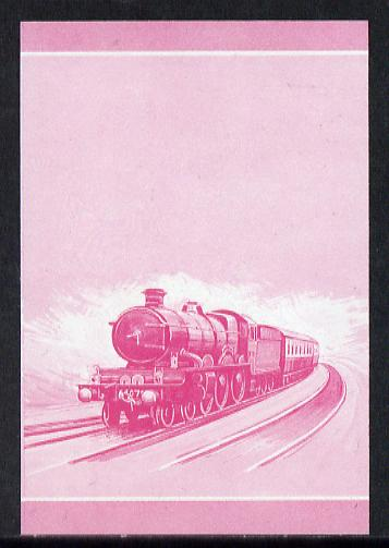 Nevis 1983 Locomotives #1 (Leaders of the World) Pendennis Castle $1 unmounted mint se-tenant imperf progressive proof pair in magenta only (SG 138a)