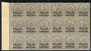 Indian States - Gwalior 1899-1911 QV 3p grey marginal block of 18 (6 x 3) from left of sheet (rows 12, 13 & 14) with minor broken letters noted, overall toning but unmoun...