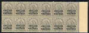 Indian States - Gwalior 1899-1911 QV 3p grey marginal block of 12 (6 x 2) from right of sheet (rows 15 & 16) with minor broken letters noted, overall toning but unmounted...