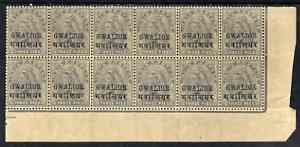 Indian States - Gwalior 1899-1911 QV 3p grey marginal block of 12 (6 x 2) from right of sheet (rows 17 & 18) with minor broken letters noted, overall toning but unmounted...