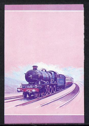 Nevis 1983 Locomotives #1 (Leaders of the World) Pendennis Castle $1 unmounted mint se-tenant imperf progressive proof pair in magenta & blue (SG 138a)