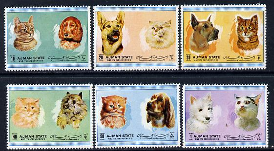 Ajman 1972 Cats & Dogs perf set of 6 unmounted mint (Mi 1762-67A)