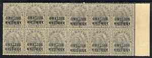 Indian States - Gwalior 1899-1911 QV 3p grey corner block of 12 (6 x 2) from lower right of sheet (rows 19 & 20) with minor broken letters noted, overall toning but unmou...