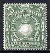 Kenya, Uganda & Tanganyika - British East Africa 1890-95 Light & Liberty 5r grey-green mtd mint SG19