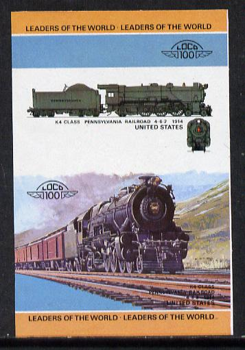 St Vincent - Bequia 1984 Locomotives #1 (Leaders of the World) 45c (4-6-2 Pennsylvania Railroad K4 Class) imperf se-tenant progressive proof pair with Country name and value omitted unmounted mint