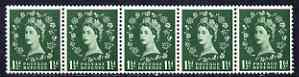 Great Britain 1952-54 Wilding 1.5d Tudor wmk (s/ways) horiz coil strip of 5, centre stamp with flaw over OS of Postage, unmounted mint