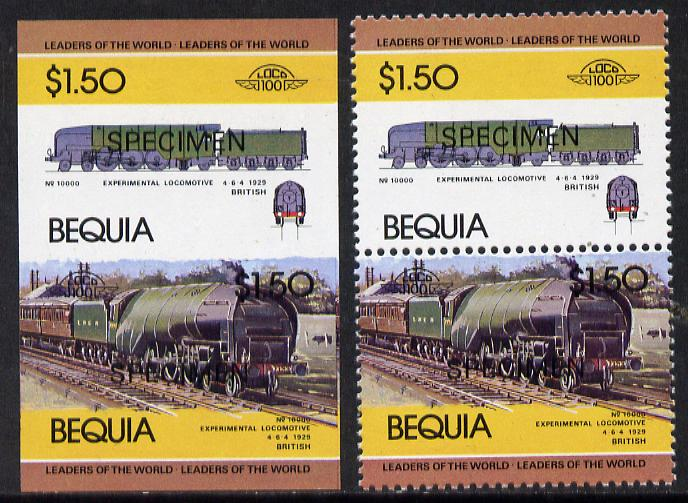 St Vincent - Bequia 1984 Locomotives #1 (Leaders of the World) $1.50 (Experimental Loco) unmounted mint se-tenant matched proof pairs in issued colours overprinted SPECIMEN, perf & imperf (2 prs)