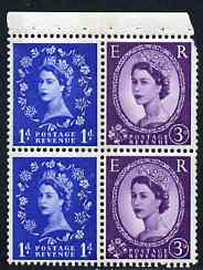 Booklet Pane - Great Britain 1960-67 Wilding 1d/3d Crowns phos (s/ways wmk) booklet pane of 4 unmounted mint