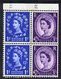 Booklet Pane - Great Britain 1960-67 Wilding 3d/1d Crowns phos (s/ways wmk) booklet pane of 4 with cyl numbers unmounted mint
