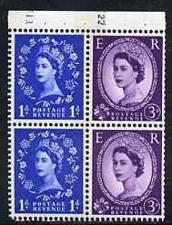 Booklet Pane - Great Britain 1960-67 Wilding 1d/3d Crowns phos (s/ways wmk) booklet pane of 4 with cyl nos F13/K22, unmounted mint