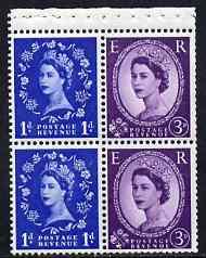 Booklet Pane - Great Britain 1958-65 Wilding 1d/3d Crowns phos (s/ways wmk) booklet pane of 4 unmounted mint