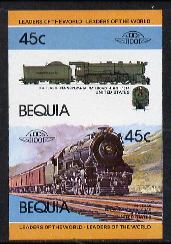 St Vincent - Bequia 1984 Locomotives #1 (Leaders of the World) 45c (4-6-2 Pennsylvania Railroad K4 Class) se-tenant imperf proof pair in issued colours from limited printing unmounted mint