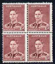 Australia 1937-39 KG6 1.5d maroon perf 15 x 14 block of 4 superb unmounted mint SG 182