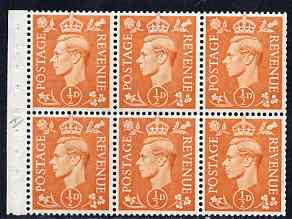Booklet Pane - Great Britain 1950-52 KG6 1/2d orange booklet pane of 6 with inverted wmk, unmounted mint with fairly good perfs, SG spec QB7a