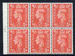 Booklet Pane - Great Britain 1950-52 KG6 2.5d pale scarlet booklet pane of 6 with inverted wmk, unmounted mint with fairly good perfs, SG spec QB34a