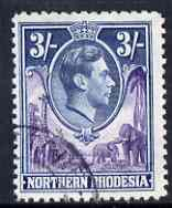 Northern Rhodesia 1938 KG6 3s violet & blue fine cds used, SG 42