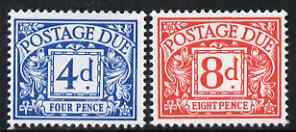 Great Britain 1968-69 Postage Due No wmk set of 2 (4d & 8d) unmounted mint, SG D75-76