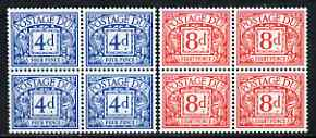 Great Britain 1968-69 Postage Due No wmk set of 2 (4d & 8d) blocks of 4 unmounted mint, SG D75-76