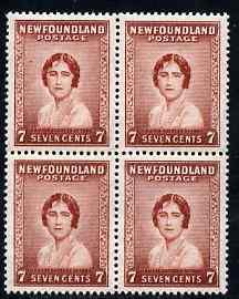 Newfoundland 1932-38 Queen Mother 7c block of 4 unmounted mint SG 226