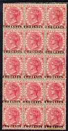 Mauritius 1891 QV 2c on 4c  block of 15 (3 x 5) with several overprint varieties incl Broken N & T unmounted mint SG 118var