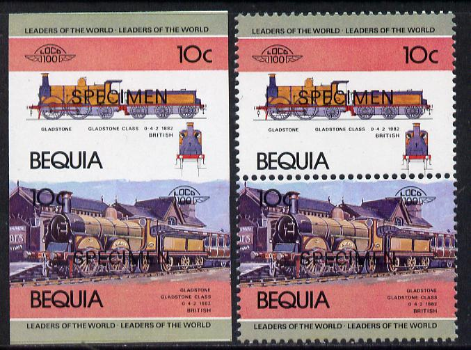 St Vincent - Bequia 1984 Locomotives #1 (Leaders of the World) 10c (Gladstone Class) unmounted mint se-tenant matched proof pairs in issued colours overprinted SPECIMEN, perf & imperf (2 prs)