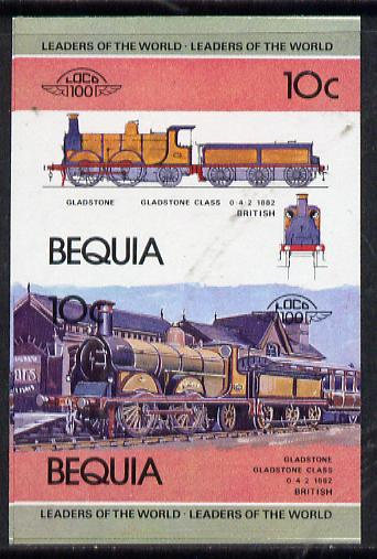 St Vincent - Bequia 1984 Locomotives #1 (Leaders of the World) 10c (Gladstone Class) unmounted mint se-tenant imperf proof pair in issued colours from limited printing, stamps on railways